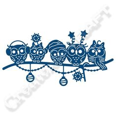 Tattered Lace Owl Family Christmas Die (147346) | Create and Craft