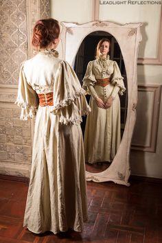 Edwardian tea gown victorian dress steampunk by DressArtMystery
