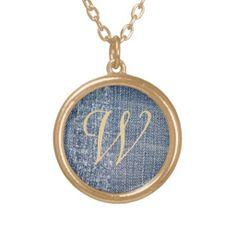 Personalized Initial Denim Jeans-Look Monogram Necklace
