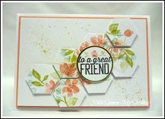 handmade card from My Sandbox: Just Add Ink sketch #249 ... hexagons look like tiles ... painted petals ... Stampin' Up!