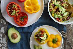 Tri-legume Salad Stuffed Peppers | vegan, gluten free