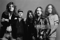 Rock band Uriah Heep posed in Islington, London in November 1979. Left to right: singer John Sloman, drummer Chris Slade, bassist Trevor Bolder, guitarist Mick Box and keyboard player Ken Hensley.