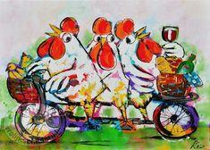 Vrolijk Schilderij Op de fiets..