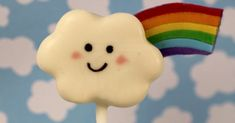 OK - I'm just gonna say it - these are pretty much the cutest pops I have made.   Rainbows + clouds with smiley faces = too cute for word...