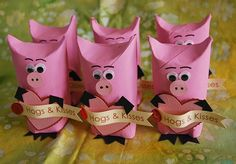 hogs and kisses, kisses, valentine, valentines day, class , school, party, handmade, homemade, diy, toilet paper tubes, paper tubes, pink, pigs, recycle