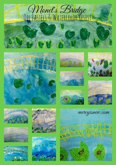 Oil Pastel & Watercolor Resist Monet Bridge