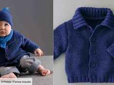 Realized at the point foam. Little cardigan is finished with rib-knit collar. X cuffs and bottom. The front is closed by buttons. Baby Cardigan, Sweater Cardigan, Men Sweater, Free Knitting, Baby Knitting, Knitting Ideas, Tricot Baby, Point Mousse, Rib Knit
