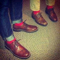 brogues & red socks