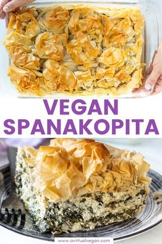 Vegan Spanakopita My take on the great Greek spinach and feta pie Featuring shatteringly crisp phyllo pastry and a soft salty feta-cheesy spinachy filling all baked up to golden perfection Comfort food at it s finest veganspanakopita Deep Dish, Gourmet Recipes, Vegetarian Recipes, Healthy Recipes, Vegetarian Cooking, Easy Cooking, Delicious Recipes, Easy Recipes, Dinner Recipes