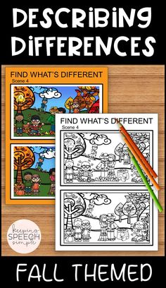 These no prep, find what's different worksheets will have your students searching for at least 10 differences per worksheet. When describing the differences, students will practice using spatial and quantity concepts, as well as various verb tenses. Scenes include fall, back to school, Halloween and Thanksgiving.  These worksheets are perfect for targeting visual perceptual skills and expressive language. Students can also complete these as part of their independent work. Answer keys included.