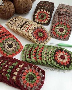 Autumn-Themed Granny Squares. #Crochet