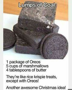 CHRISTMAS OREO COOKIES} A treat for little naughty ones. Great with mint flavored cookies! Use a greased melon baller and create a coal shape.