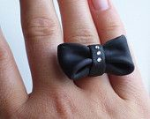 Black Polymer Bow Ring with Swarovski Crystals