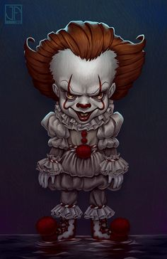 "I really enjoyed the ""IT"" remake. ----- Drawn in Adobe Photoshop + Wacom MobileStudio Pro Pennywise Horror Cartoon, Clown Horror, Horror Icons, Arte Horror, Horror Movies, Evil Clowns, Scary Clowns, Chibi, Le Clown"