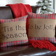 Cherry Red Rustic Christmas Decor Gavin Tis The Season To Be Jolly Cotton Appliqued Textured Text Square Pillow Set of 2 (Pillow Cover, Pillow Insert) Size: 16 x Blue Throw Pillow Sets, Throw Pillows, Burlap Pillows, Blue Pillows, Pillow Inserts, Pillow Covers, Seasonal Decor, Holiday Decor, Christmas Decor