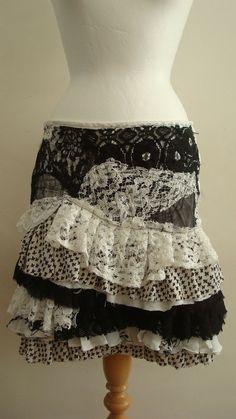 Upcycled Skirt Woman's Clothing Black and White by BabaYagaFashion, $97.00