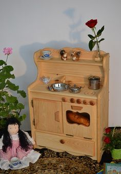 Natural Wooden Toy Play Julianna's Kitchen With Broiler Oven by Elves and Angels