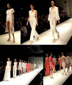 Roma Renom: femenino, plisados, transparencias, fluidez. Blanco y colores del rosa al naranja tenuas,