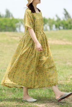 Italian yellow cotton Tunic tie waist Robe summer DressesCustom make service available! Linen Dresses, Cotton Dresses, Cute Dresses, Loose Dresses, Cotton Tunics, Cotton Linen, Linen Fabric, Casual Frocks, Casual Summer Dresses