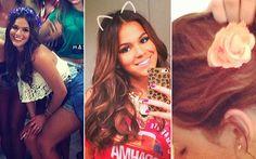 Estilo: uma lista de objetos de desejo que tiramos do Instagram de Bruna Marquezine Ela arrasa nos acessórios de cabelo: seja na coroa de flores com pegada boho ou no romantismo da tiara de orelhinha e da fivela de flor.