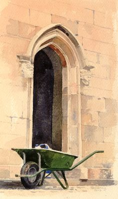 Wheelbarrow and the Colonnade, an original watercolour painting by Rob Piercy Watercolour Painting, Watercolors, Wheelbarrow, Love Art, Paint Colors, Original Paintings, Landscape, The Originals, Welsh