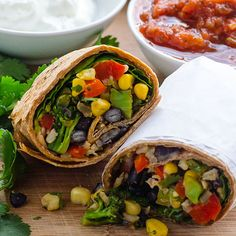 Black Bean and Rice Burritos Recipe with spinach, broccoli, corn and cheese wrapped in whole wheat tortilla for easy dinner or lunch on the go, and kids love them too. | ifoodreal.com