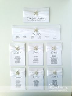 White Glitter Wedding Stationery | The Elsa Collection - DIY Table Plan / Seating Chart | Featuring white glitter paper, white velvet ribbon and snowflake embellishment | Luxury handmade wedding invitations and stationery #byenchanting