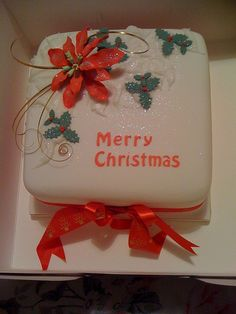 Christmas cake with poinsettia