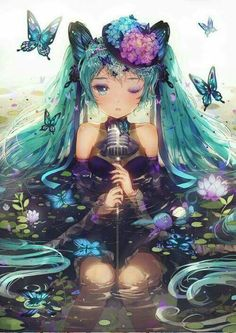Hatsune Miku, butterflies, beautiful. ♥