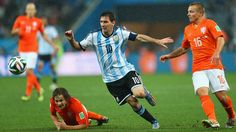 Lionel Messi of Argentina controls the ball
