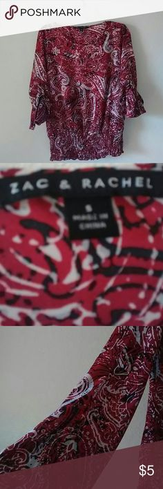 Zac & Rachel Top Sleeves are adjustable Red, black and white colors Excellent condition Zac & Rachel Tops