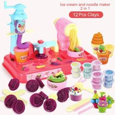 Amount of color plasticine: 24 colorsAge Range: > 3 years oldType: Colored Clay Playdough Diy, Noodle Maker, Act For Kids, Plasticine, Toy Kitchen, Ice Cream Maker, Making Machine, Diy Toys, Toy Store