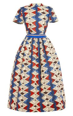 Myrtle Printed Waxed Cotton Party Dress by Stella Jean Now Available on Moda Operandi