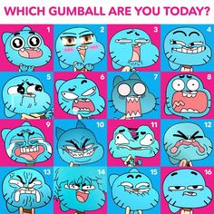 Which Gumball are you today?<<<I'm Gumball number 9 Cartoon Fan, Cartoon Memes, Cartoon Shows, Cartoons, Expression Sheet, Darwin, Funny Faces, Funny Comics, Chibi
