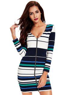 Sale 15% (28.89$) - Women Sexy V-Neck Zipper Stripe Long Sleeve Knitting Mini Dress
