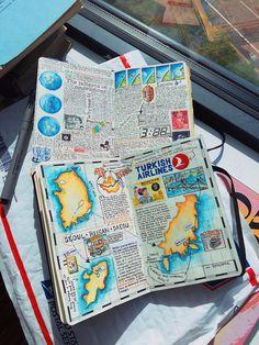 Interview: Avid Adventurer Reveals His Brilliant Travel Journal Ideas Scrapbook Journal, Travel Scrapbook, Bullet Journal Travel, His Travel, Bullet Journal Inspiration, Smash Book, Travelers Notebook, Travel Essentials, Art Journals
