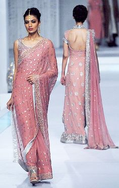 Exquisite #Pink #Saree (& Backless long Anarkali) ~