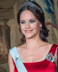 Princess Sofia attends a State Representatives Dinner at the Royal Palace of Stockholm wearing the Cut Steel Tiara on the day that her second pregnancy has been announced. Royal Crowns, Royal Tiaras, Stockholm, Princess Sofia Of Sweden, Pregnant Princess, Prince Carl Philip, Prince Daniel, Swedish Royalty, Crown Princess Victoria