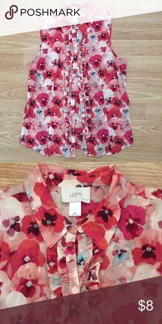 Floral button up shirt by Loft. Fun summer shirt by Ann Taylor Loft. Cute ruffle detail. Great condition! LOFT Tops Blouses