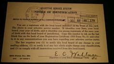Information side of Selective Service (Draft) card. #SSS #DraftCard #Enlist #SelectiveService #DraftBoard #Military #USMC