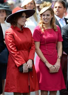 Princess Eugenie and Princess Beatrice looked elegant as they arrived in knee-length dress...