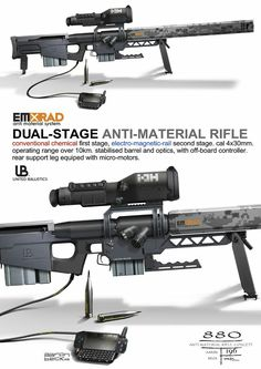 Dual-stage anti-material rifle (United Ballistics) by Aaron Beck Sci Fi Weapons, Weapon Concept Art, Weapons Guns, Guns And Ammo, Rpg Cyberpunk, Surplus Militaire, Future Weapons, Info Board, Fire Powers