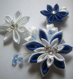 Fabric Flower flores de tela azul