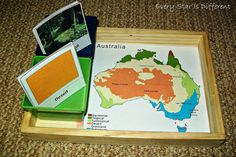 Every Star Is Different: Australia Unit w/ Free Printables -- homemade alternative to the puzzle maps Geography Of Australia, Australia Map, Printable Maps, Free Printables, Climate Of Australia, Map Puzzle, Montessori Classroom, Montessori Materials, Educational Activities