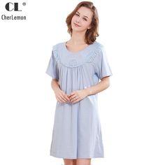 CherLemon Summer Cotton Nightgown Women s Victorian Short Sleeves Round Neck  Sleepwear Ladies Pretty Lace Trim Nightie Loose Fit. f71c66ab6