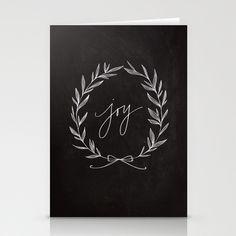 Chalkboard Art - Joy Wreath Stationery Cards by Lianne Tokey // Baron Art Co. - $12.00