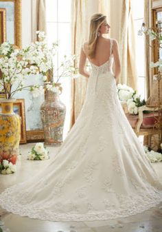 Dreamy Lace on Tulle with Scalloped Hemline | Morilee