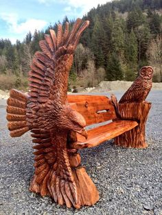 Eagle & owl bench. Ryan Cook chainsaw sculpting