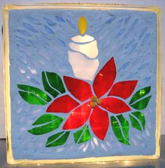 Candle Poinsettia Lighted Glass Block mosaic,Christmas,candle,poinsettia,holiday decoration, night light, ornament. $45.00, via Etsy.