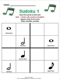 Music-themed Sudoku puzzles using rhythms, dynamics, etc.